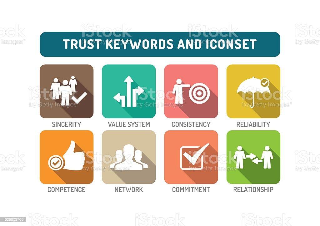 Trust Flat Icon Set vector art illustration