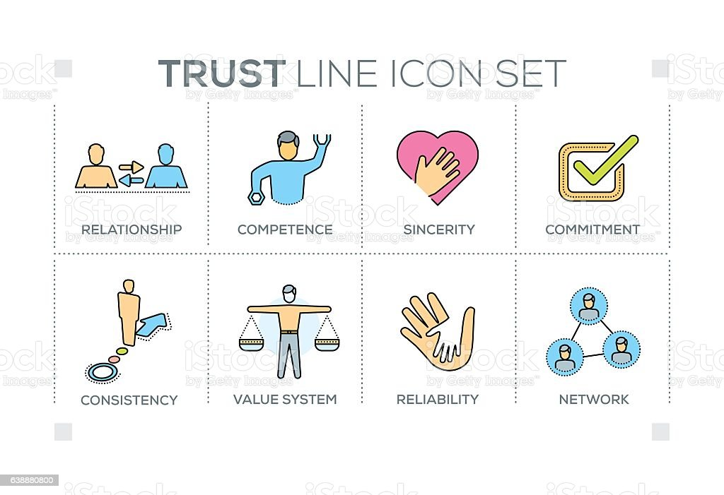 Trust keywords with line icons vector art illustration