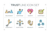 Trust keywords with line icons