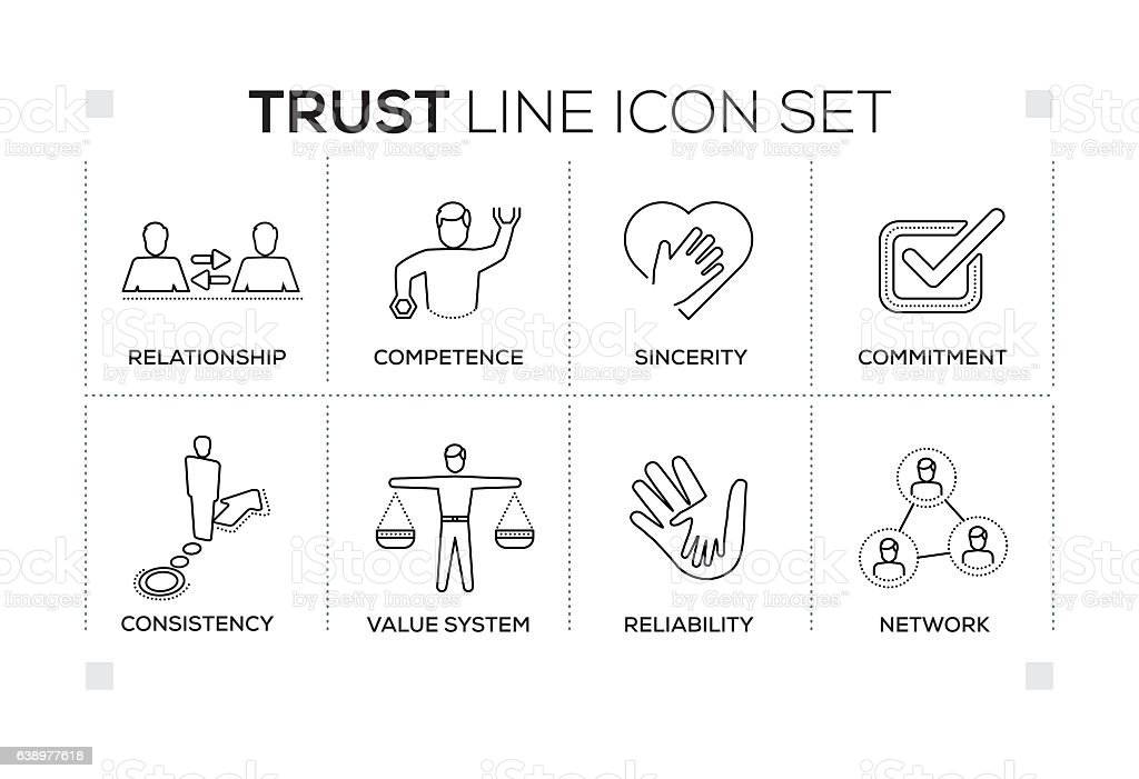 Trust keywords with monochrome line icons vector art illustration