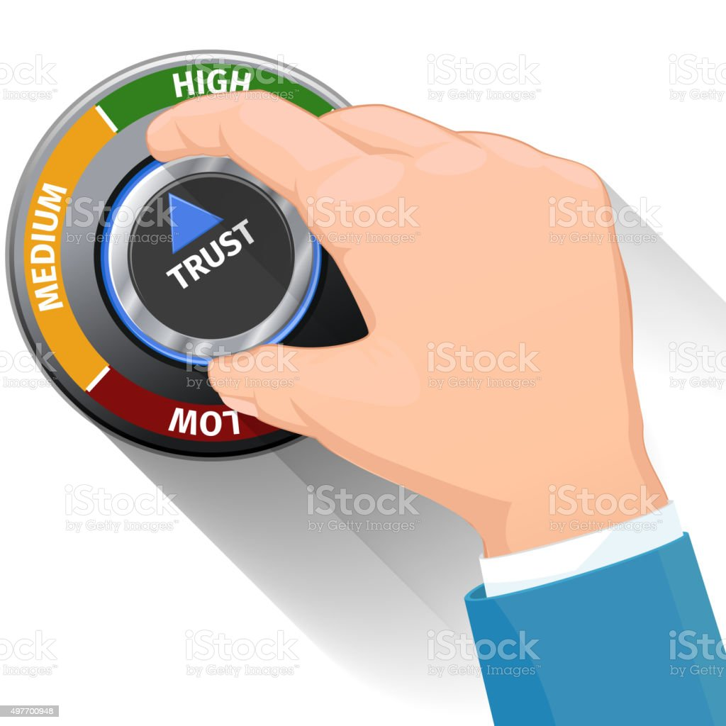 Trust knob button or switch. High confidence level vector concept vector art illustration
