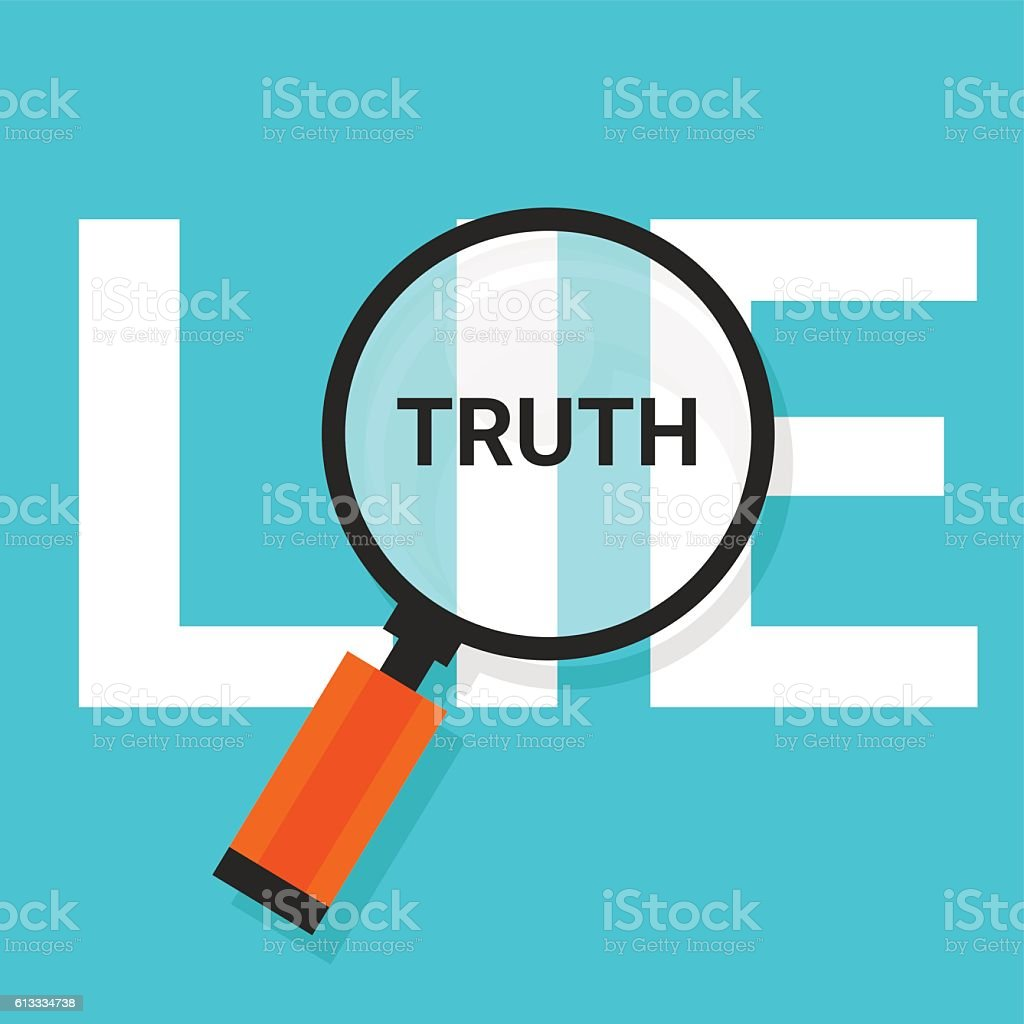 truth lie symbol text magnify magnifying find true vector art illustration