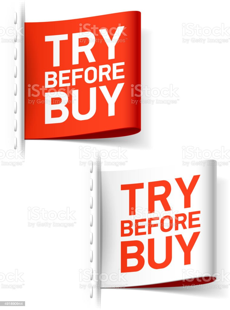 Try before buy labels vector art illustration