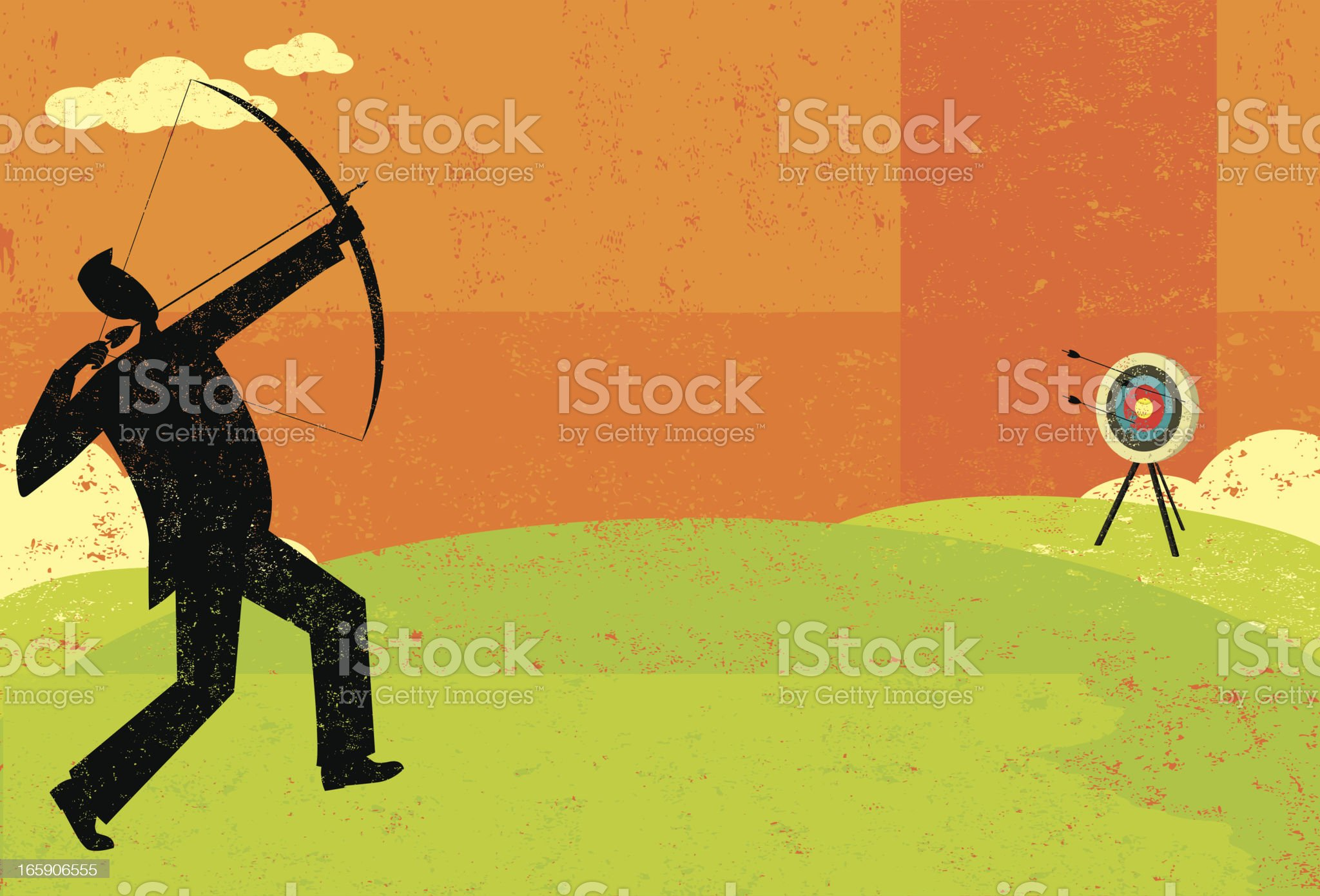 Trying to hit the bull's eye royalty-free stock vector art