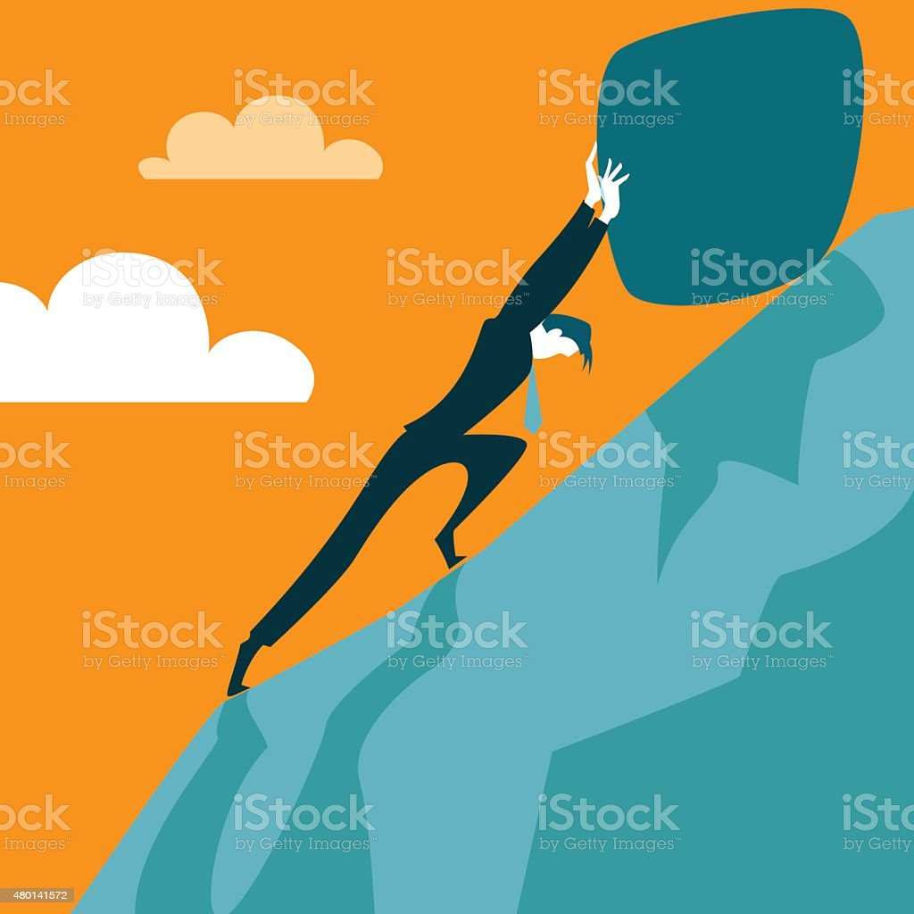 Trying to pull the stone up the hill vector art illustration