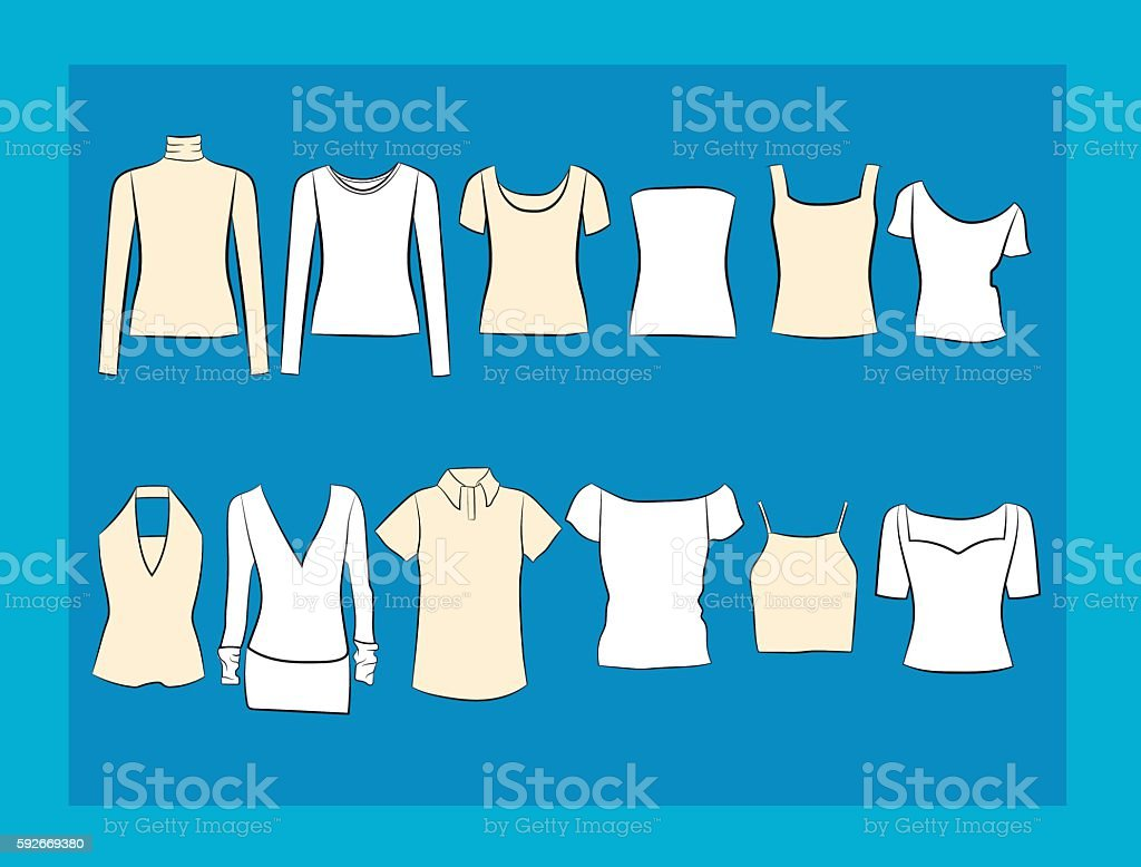 T-shirt and blouses vector illustracion set vector art illustration