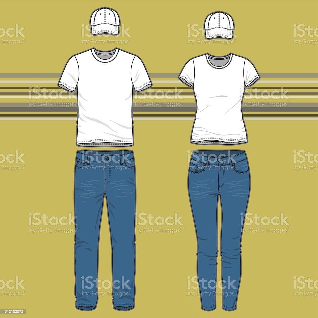 T-shirt and jeans set vector art illustration