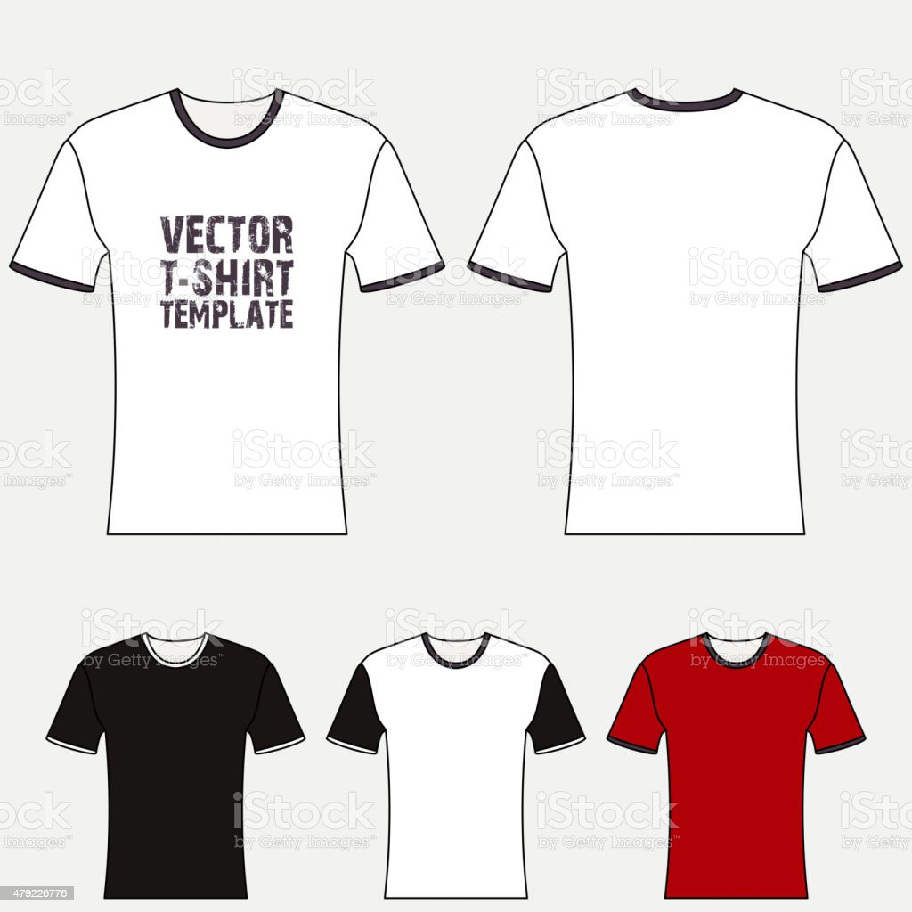 T-shirt blank design template vector art illustration