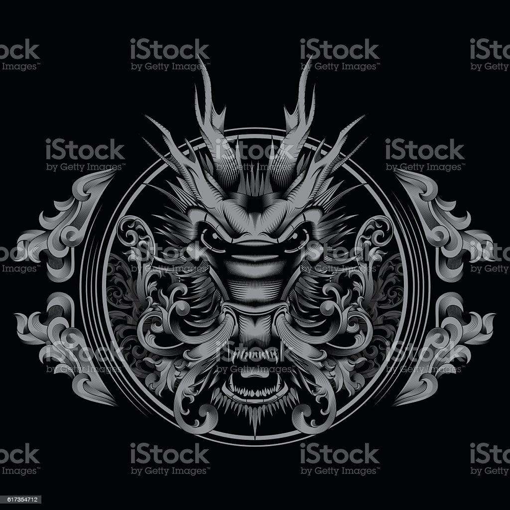 T-shirt Design Tattoo Chinese Mythical Zodiac Creature Filigree Swirl Dragon vector art illustration