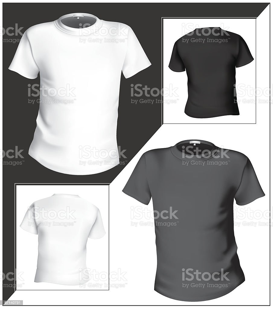 T-shirt design template (front & back). Black and white. royalty-free stock vector art