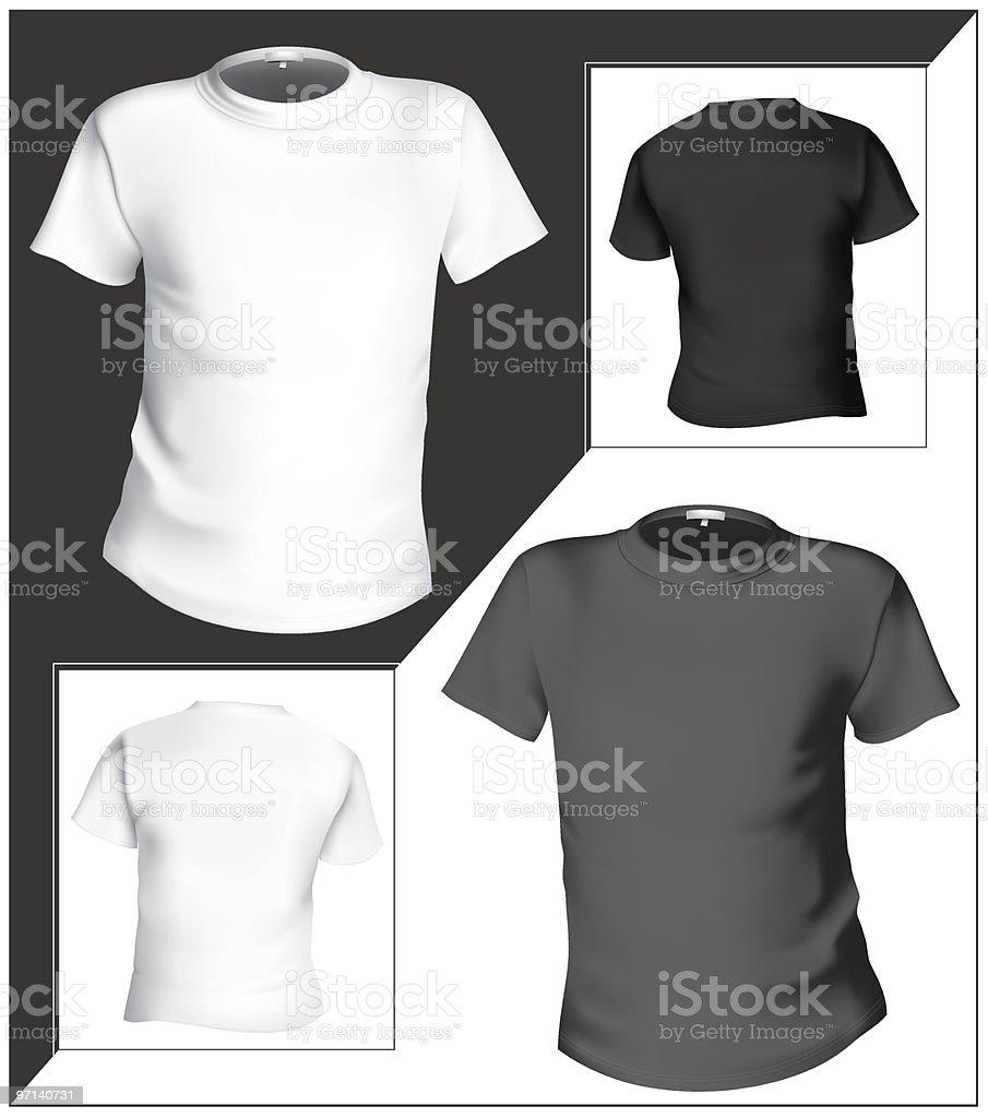 T-shirt design template (front & back). Black and white. vector art illustration