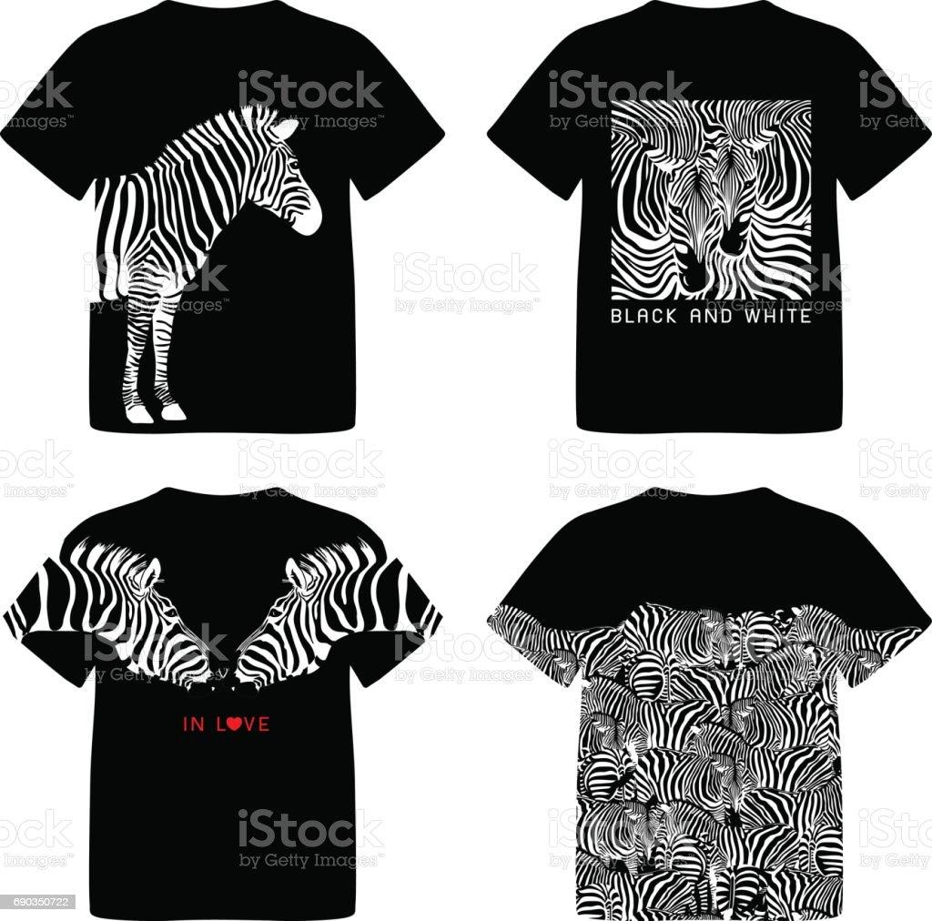 Zebra shirt design - T Shirt Design With Zebra Wild Animal Texture Royalty Free Stock Vector