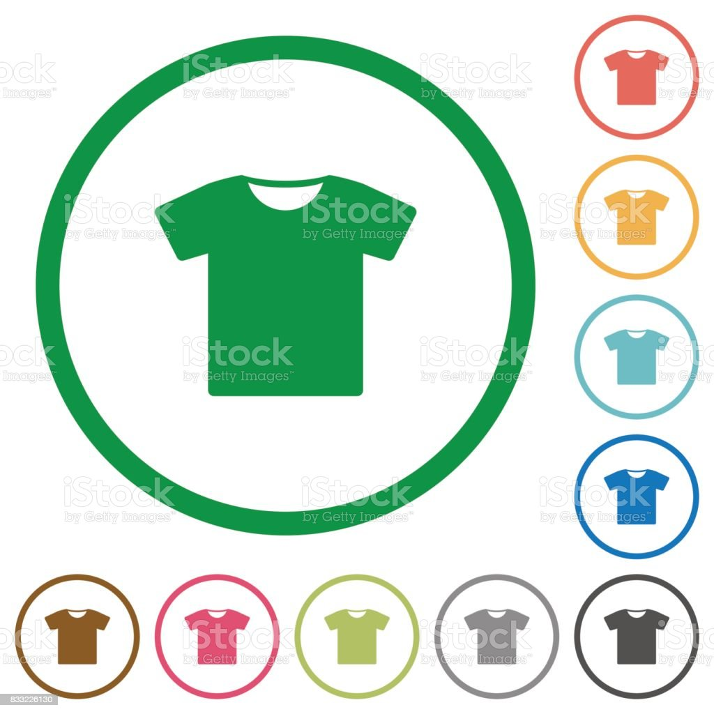 T-shirt flat icons with outlines vector art illustration