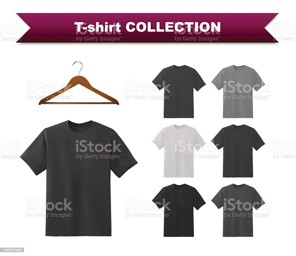 T-shirt template collection with hanger vector art illustration