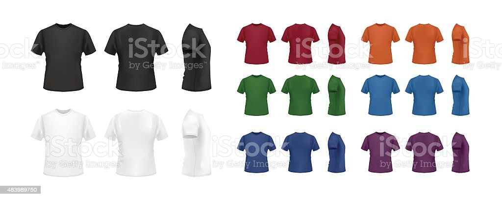 T-shirt template colorful set, front, back and side views. vector art illustration