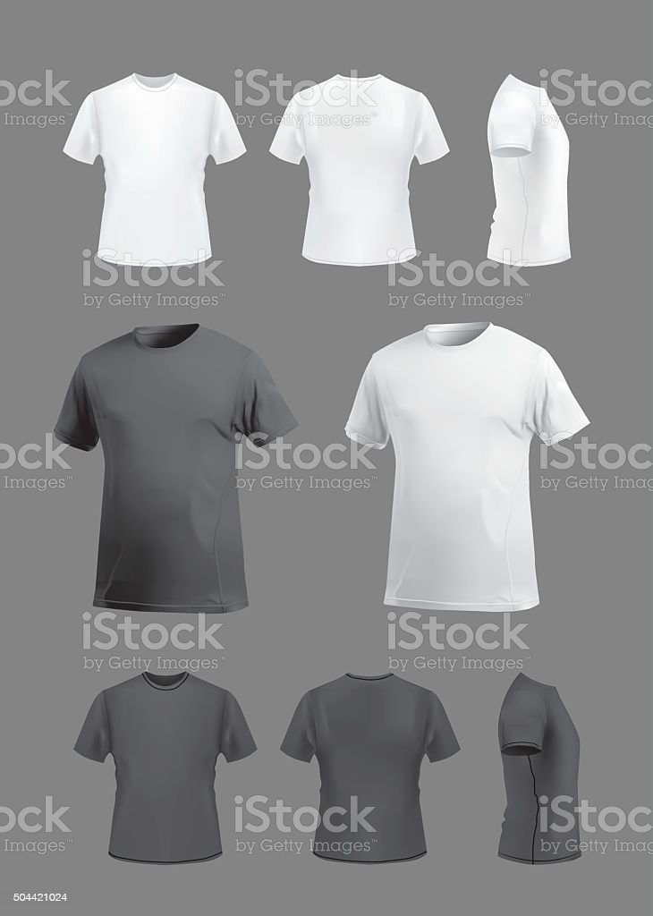 T-shirt template mockup set, front, back, side and perspective views. royalty-free stock vector art