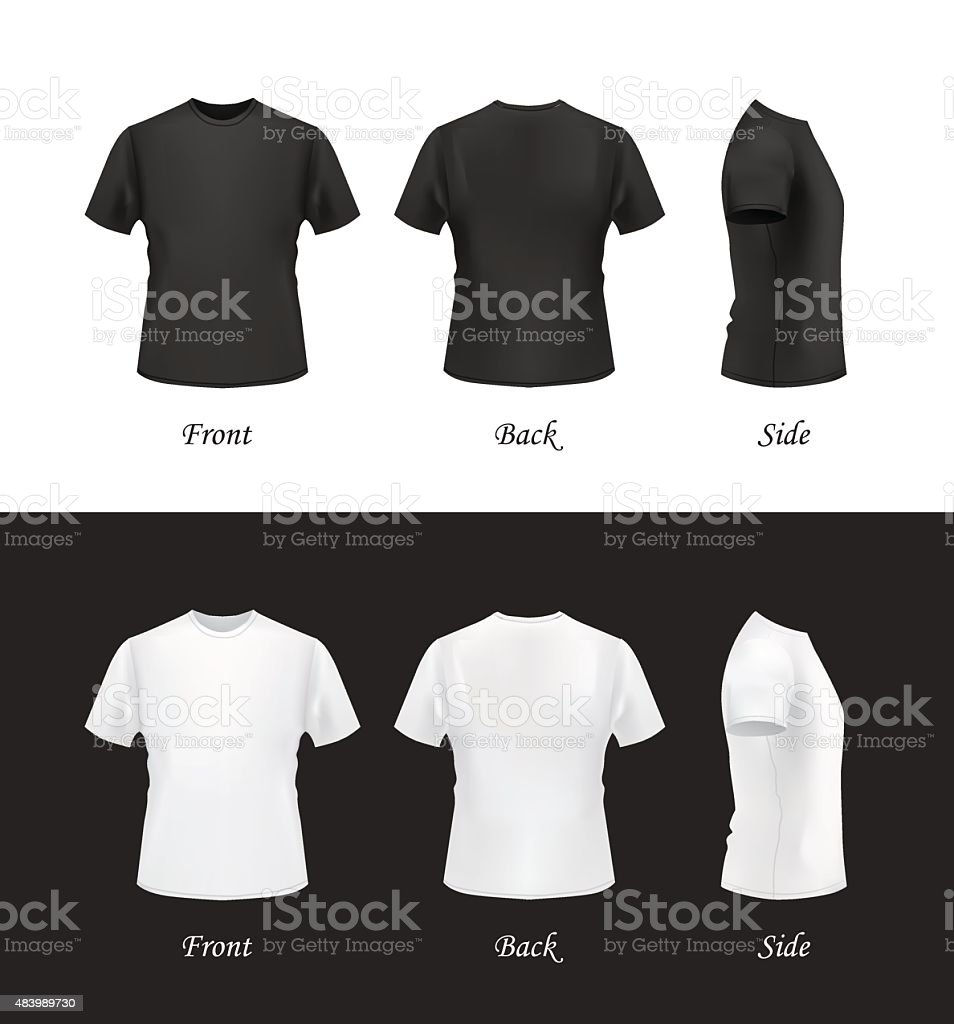 Black t shirt template vector - T Shirt Template Set Front Back And Side Views Vector Art Illustration
