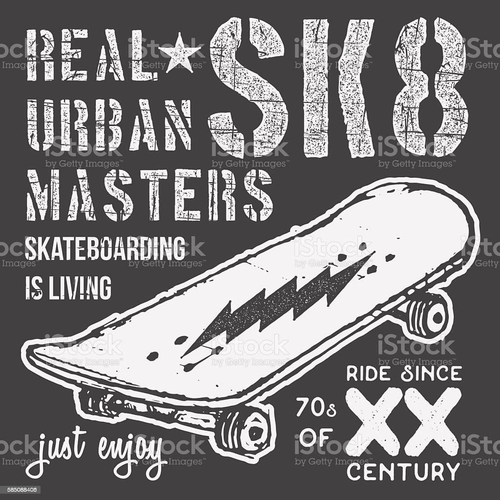 T-shirt typography design, skateboard printing graphics, vector vector art illustration