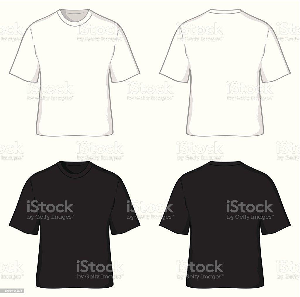 t-shirts, black and white vector art illustration