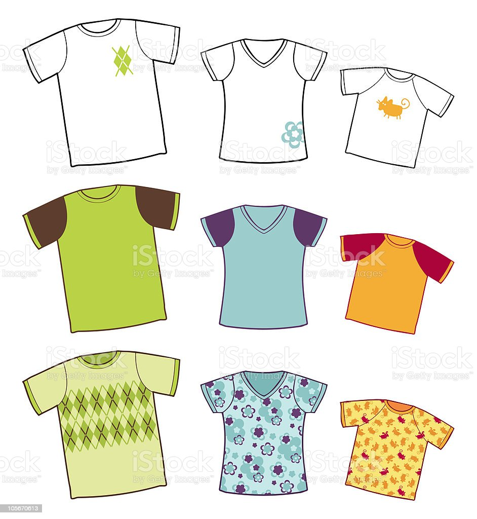 t-shirts collection royalty-free stock vector art