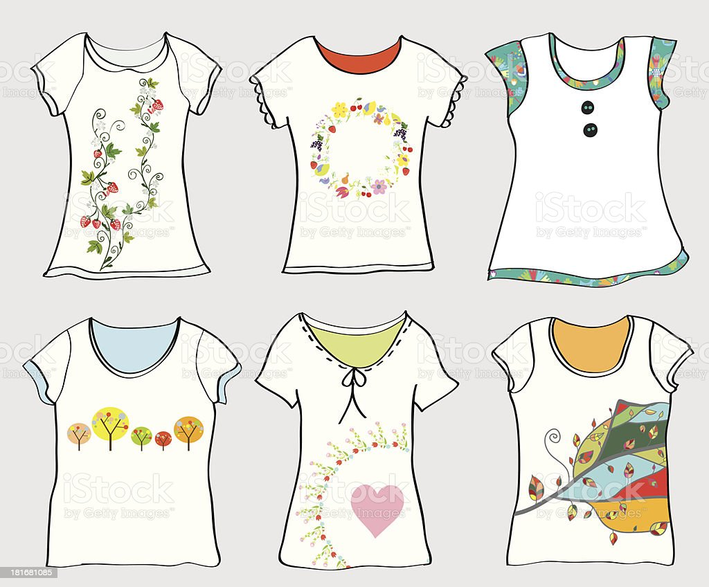 T-shirts templates set royalty-free stock vector art