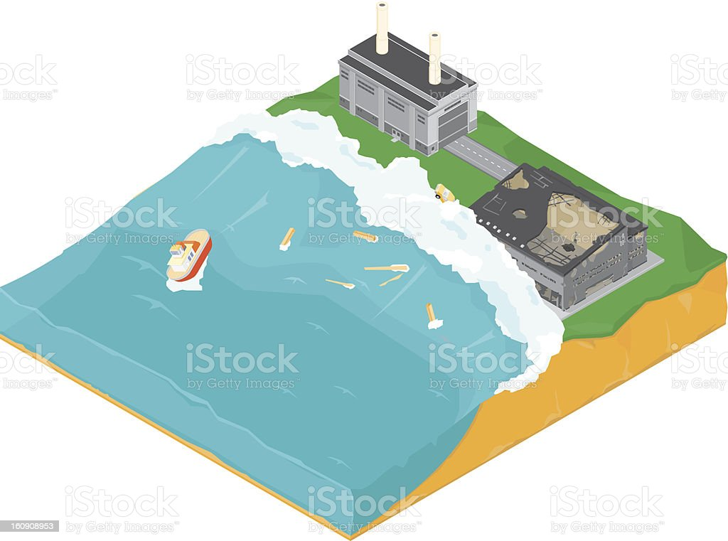 Tsunami vector art illustration