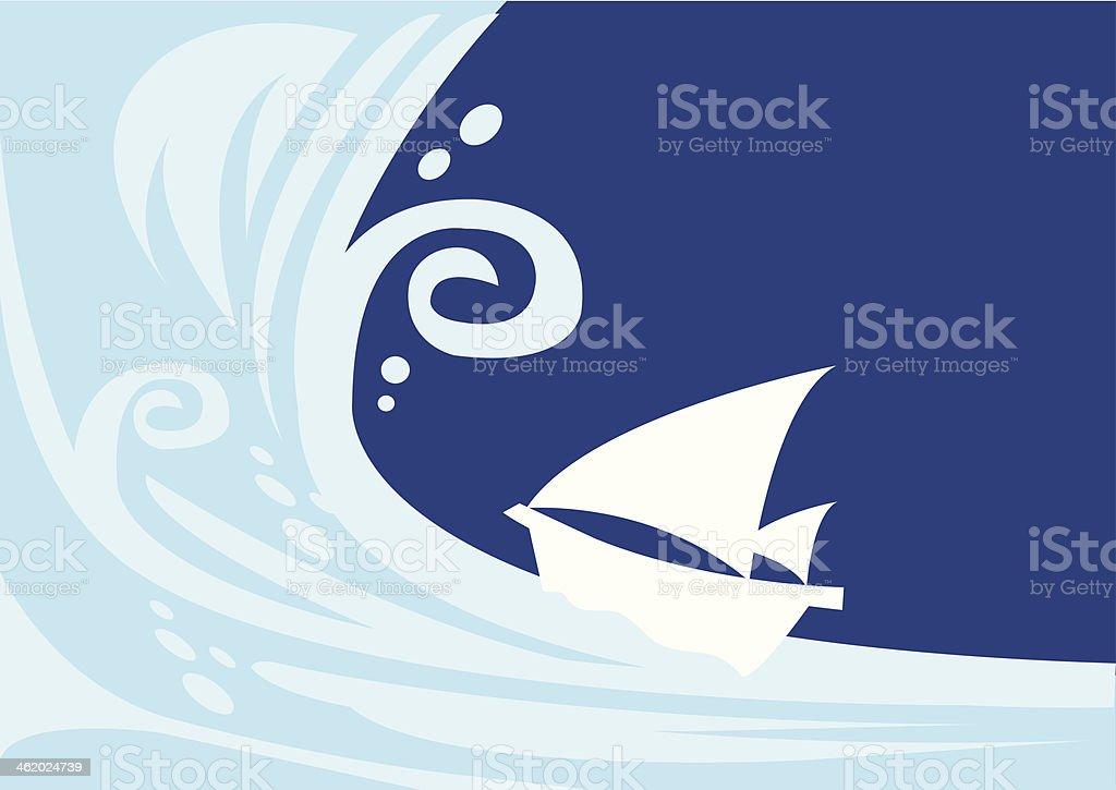Tsunami wave with sailing boat royalty-free stock vector art