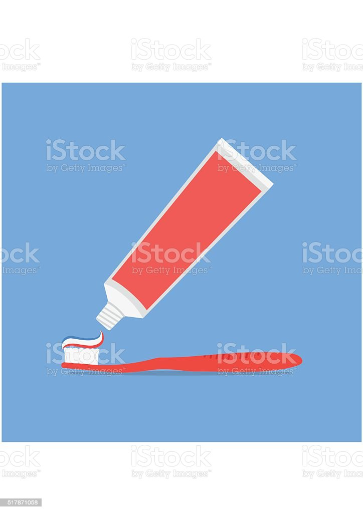 Tube of toothpaste and tooth brush flat style isolated vector art illustration