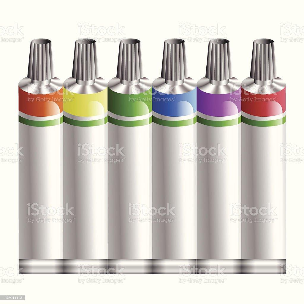tubes of paint vector art illustration