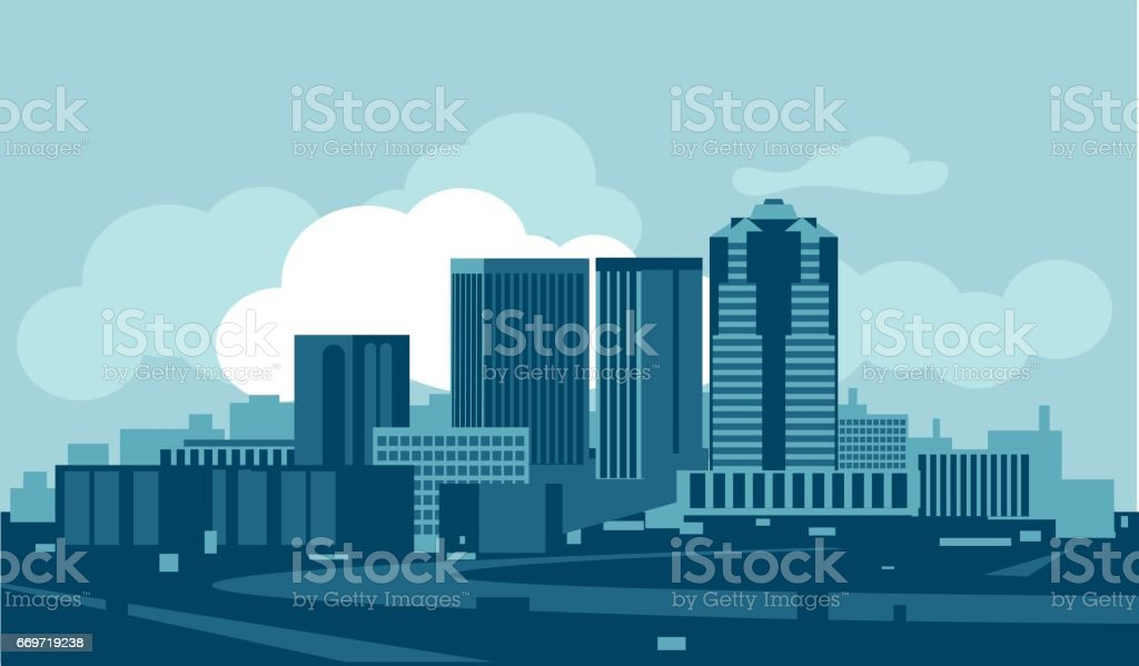 Tucson skyline vector art illustration