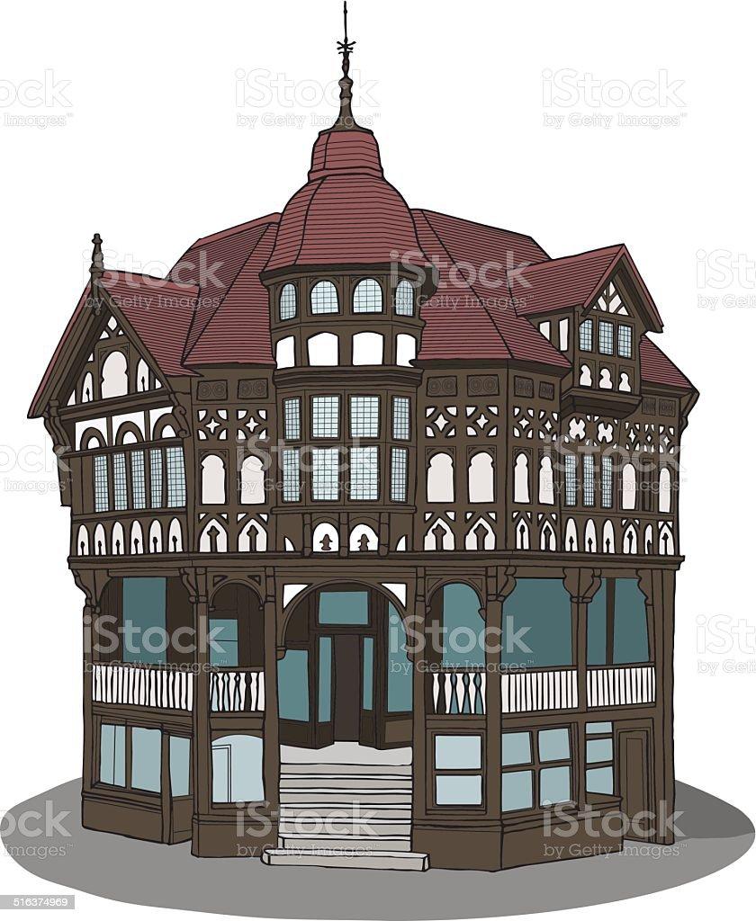 Tudor Black and White Building, Chester vector art illustration
