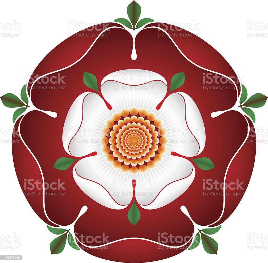 Tudor Dynasty Rose – vector shaded illustration – English Symbol vector art illustration