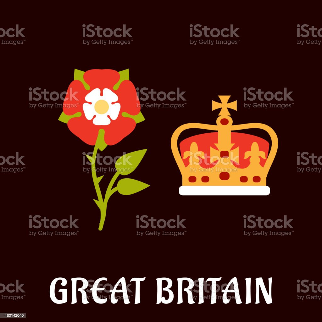 Tudor rose and crown of Great Britain vector art illustration