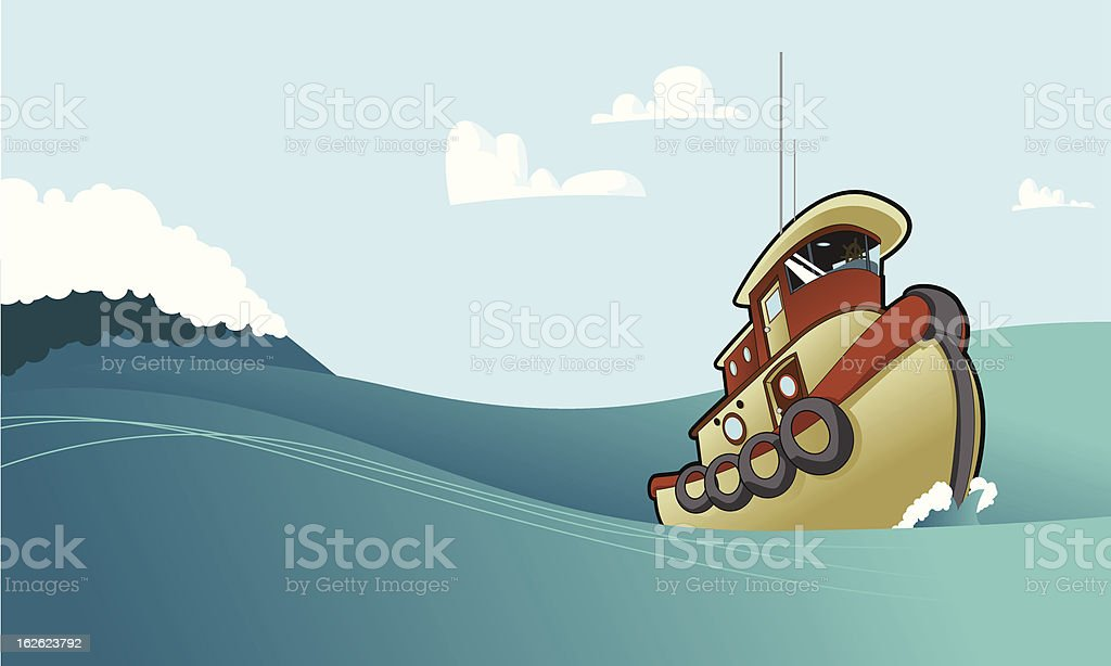 Tug Boat Tugging Along royalty-free stock vector art