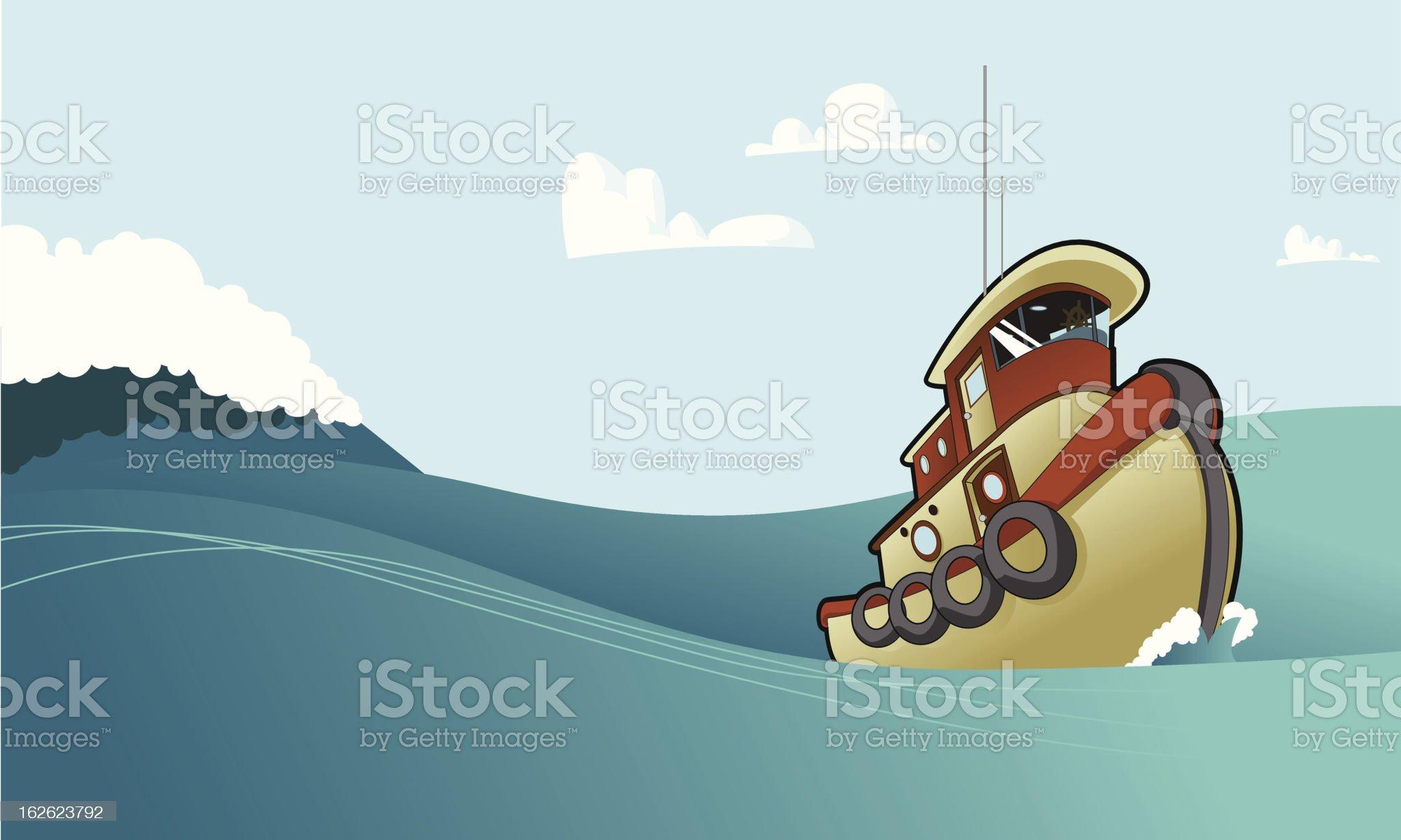 Tug Boat Tugging Along royalty-free stock vector art