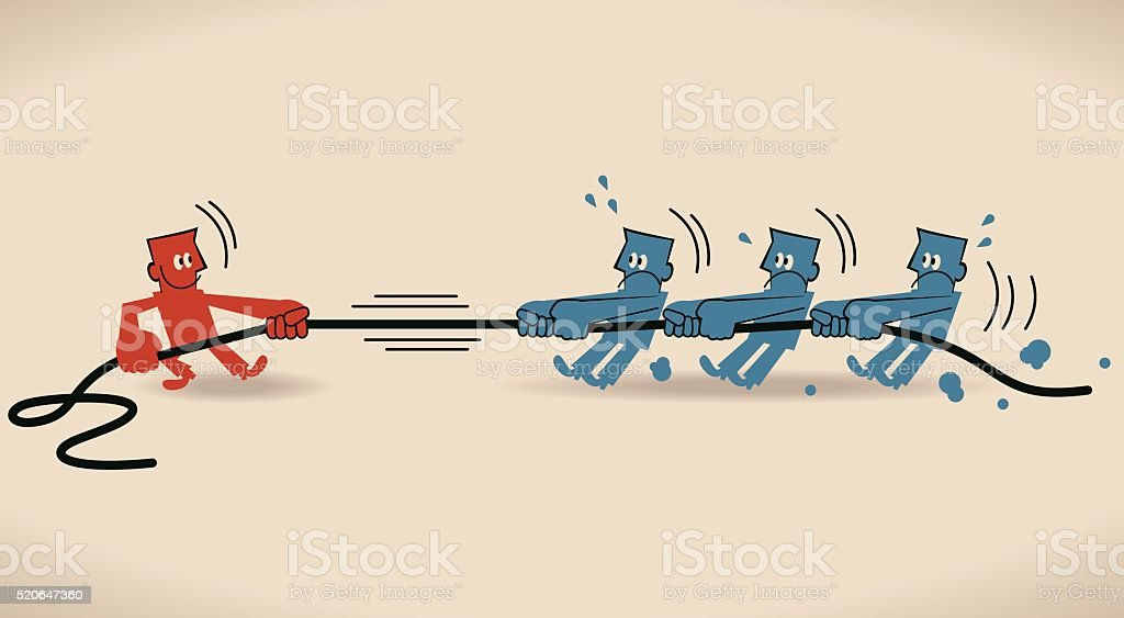 Tug Of War, people pulling a rope in opposite directions vector art illustration