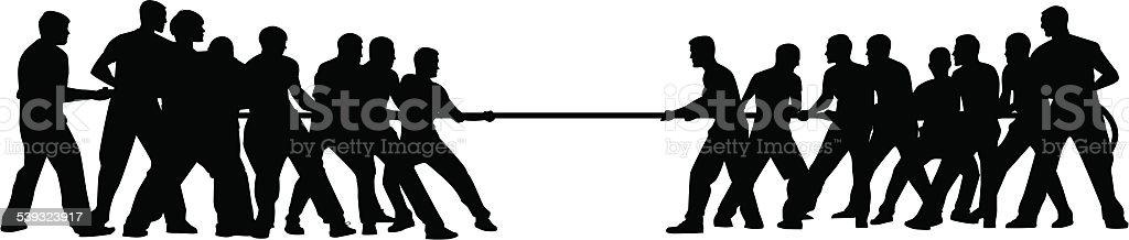 tug of war vector art illustration