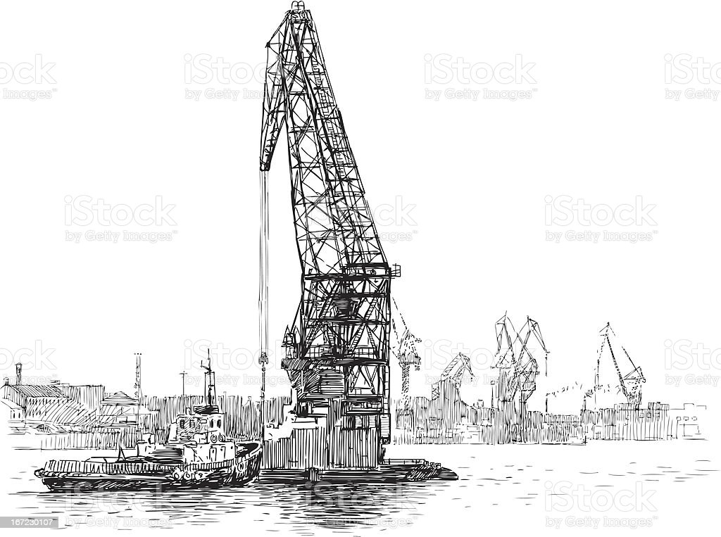 tugboat and crane royalty-free stock vector art