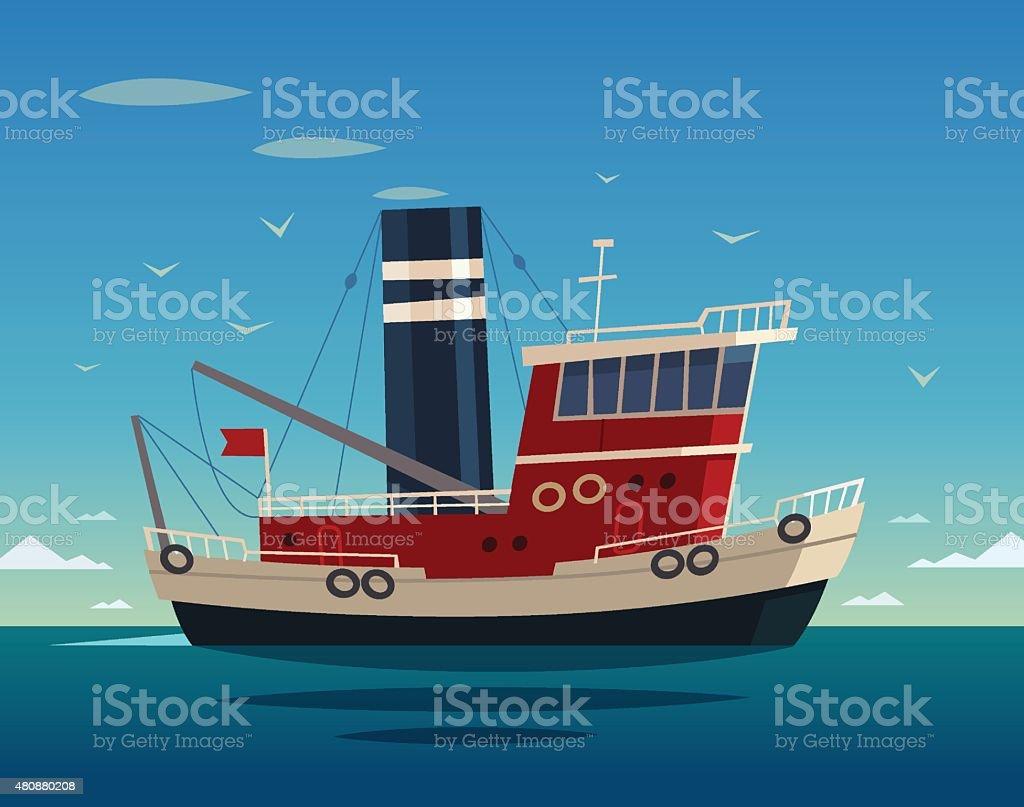 Tugboat. Vector illustration. vector art illustration