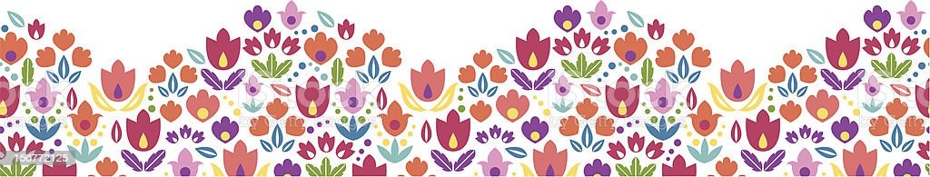 Tulip Field Ornamental Horizontal Seamless Pattern Ornament royalty-free stock vector art