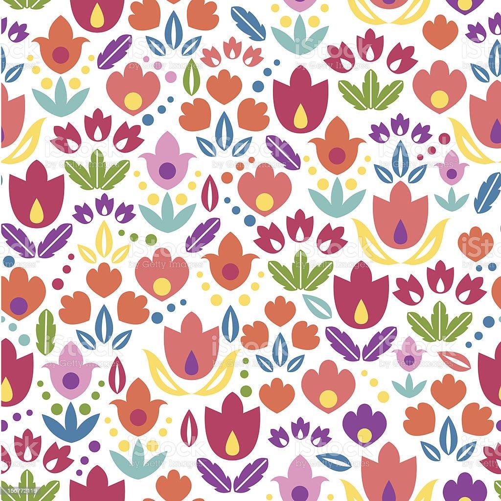 Tulip Field Ornamental Seamless Pattern Background royalty-free stock vector art