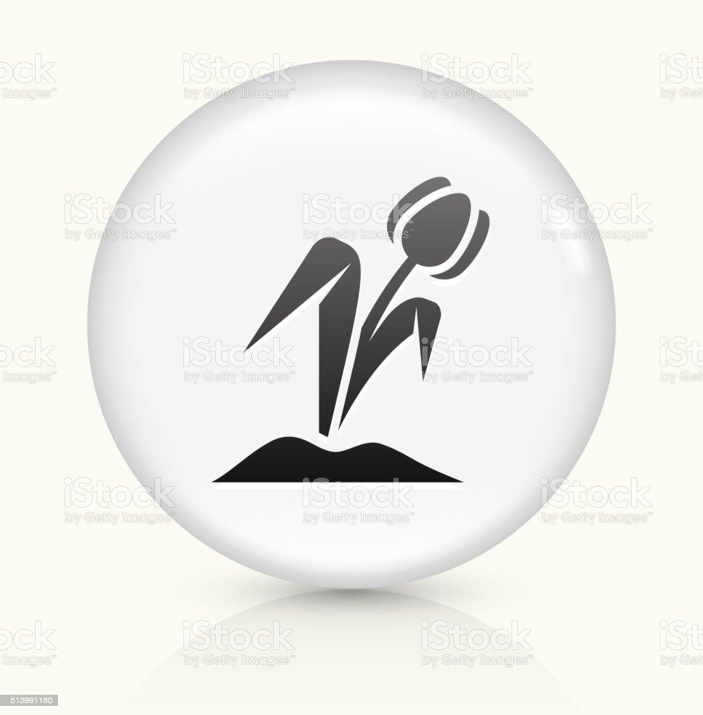 Tulip Flower icon on white round vector button vector art illustration