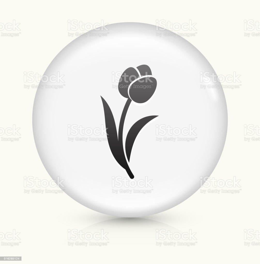 Tulip icon on white round vector button vector art illustration