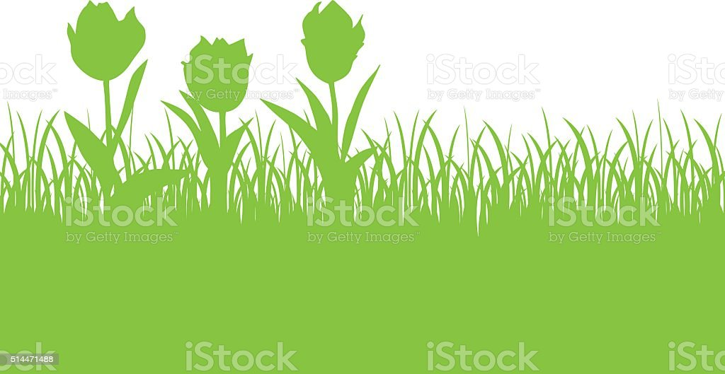 Tulips and grass green silhouette vector art illustration