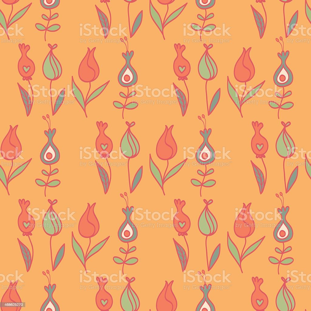 Tulips in Warm Colors vector art illustration