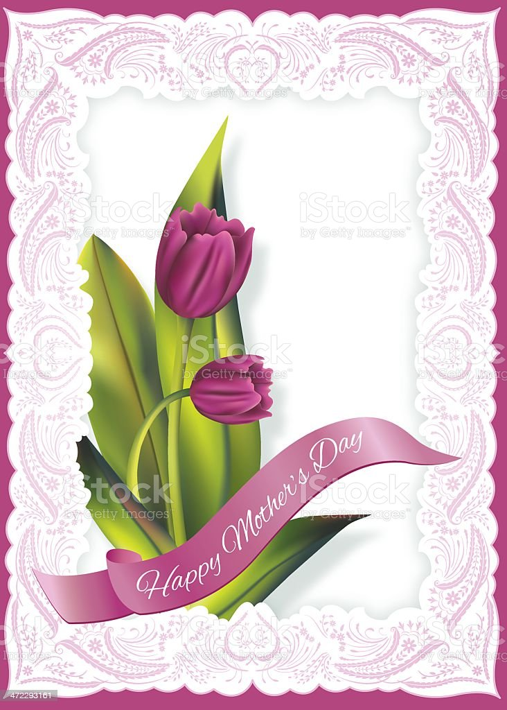 Tulips Mother's Day Card With Lace Border royalty-free stock vector art