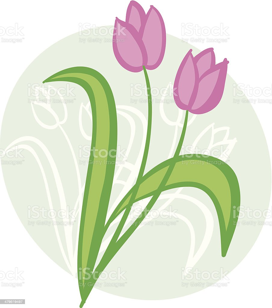 Tulips on pale green oval background royalty-free stock vector art