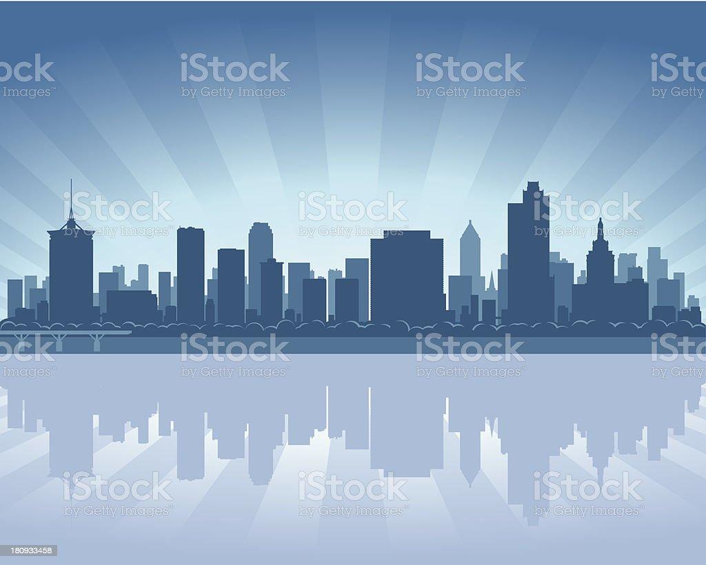 Tulsa Blue City skyline silhouette royalty-free stock vector art