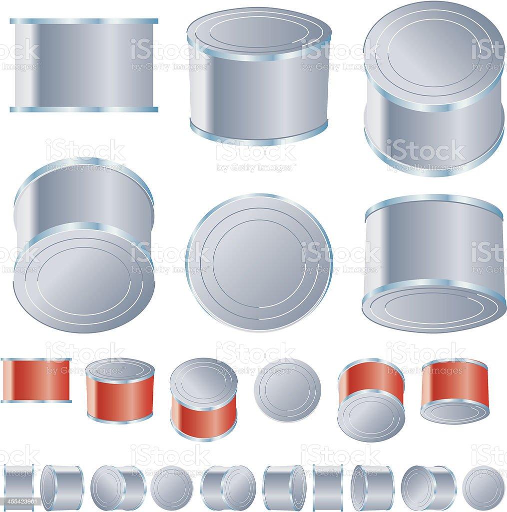 Tumbling generic cans vector art illustration