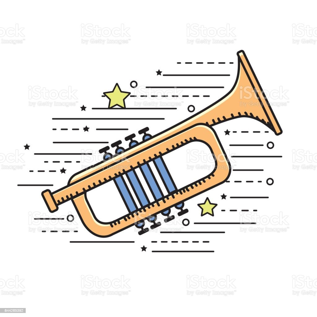 tumpet musical instrument to play music vector art illustration